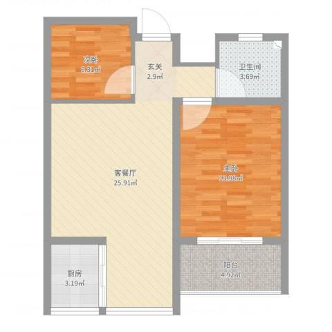 华荣・东方明珠2室2厅1卫1厨73.00㎡户型图