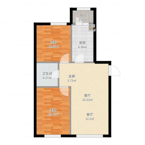 柏悦星城2室1厅1卫1厨78.00㎡户型图
