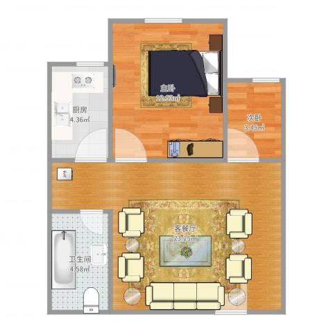 信息工程学院宿舍2室2厅1卫1厨60.00㎡户型图