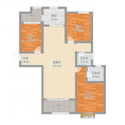 豪润・新都3室2厅2卫1厨119.00㎡户型图