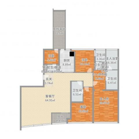 侨鑫汇悦台3室2厅5卫1厨227.00㎡户型图