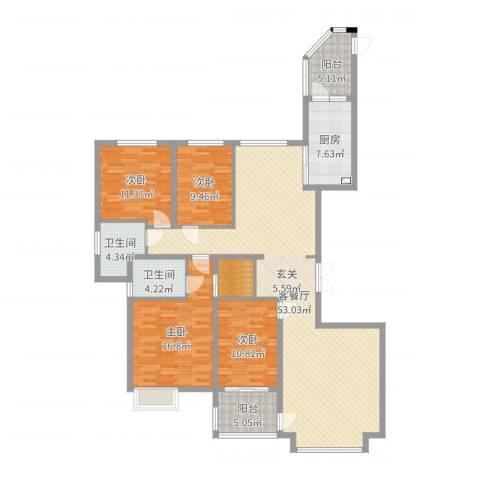 恒大帝景4室2厅2卫1厨163.00㎡户型图