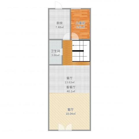 海逸豪庭1室2厅1卫1厨73.00㎡户型图
