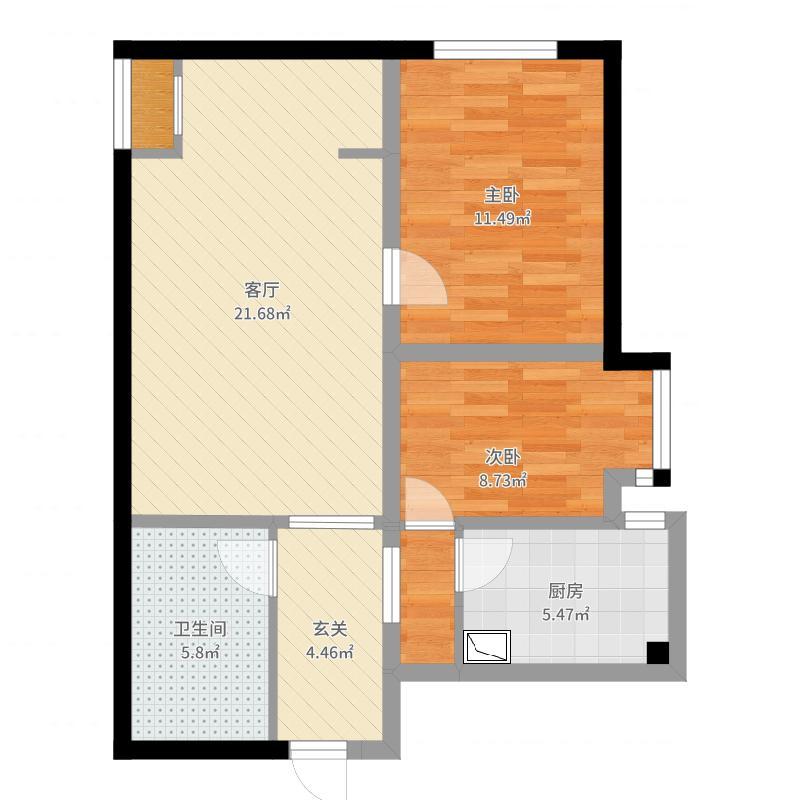 雅湖里两室两厅户型图