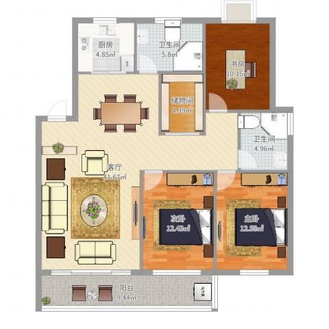景泰家园3室1厅2卫1厨133.00㎡户型图