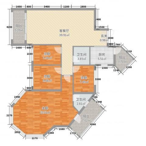 建华花园4室2厅2卫1厨157.00㎡户型图