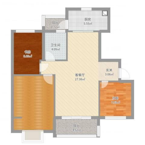 碧桂园嘉誉2室2厅1卫1厨93.00㎡户型图