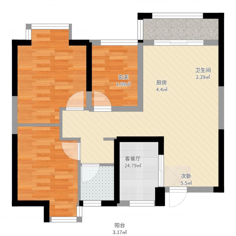 长泰国际社区85.00㎡B地块高层户型3室2厅1卫1厨-副本户型图