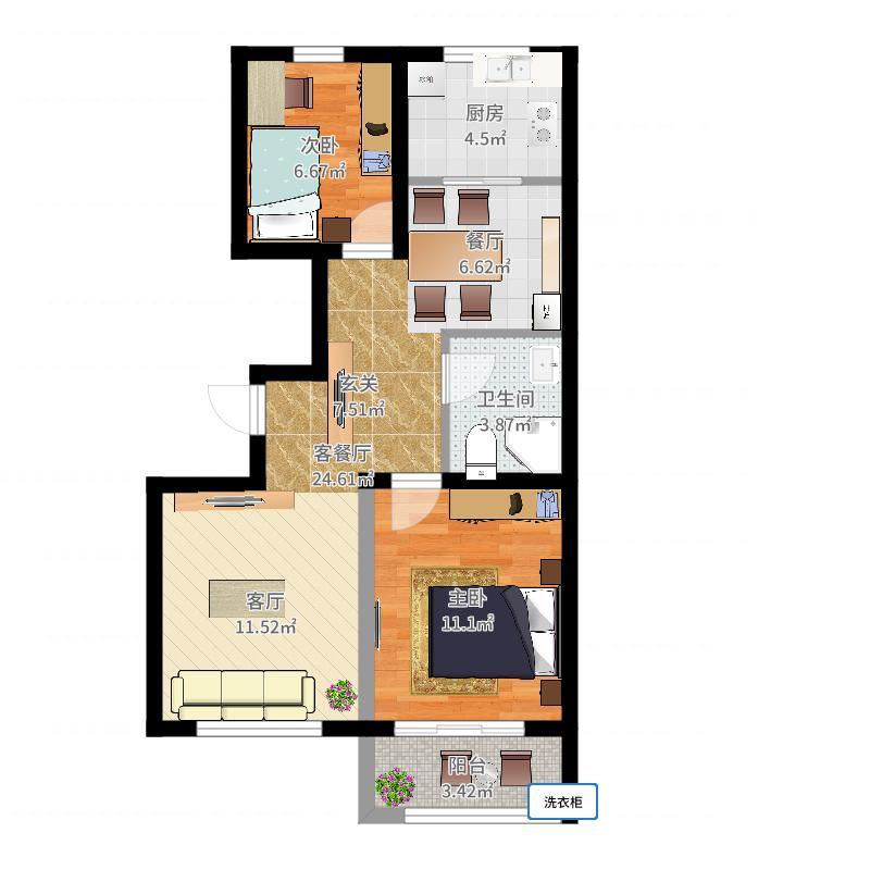博维・左岸香颂户型2室1厅1卫1厨户型图