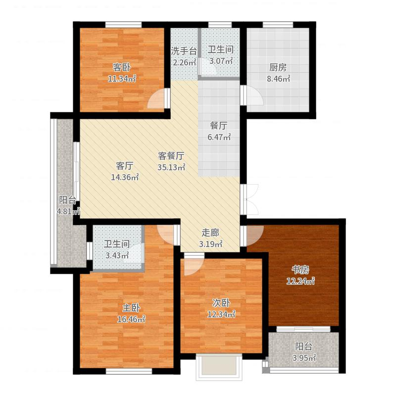 上书房127.80㎡上书房37#甲单元01室、丙单元02室3-10层户型图户型4室2厅2卫户型图