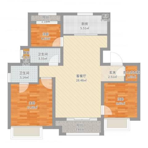 象屿上海年华3室2厅2卫1厨90.00㎡户型图