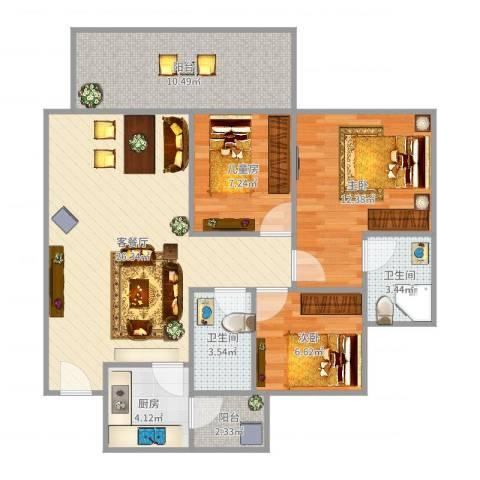 东城四季3室2厅2卫1厨96.00㎡户型图