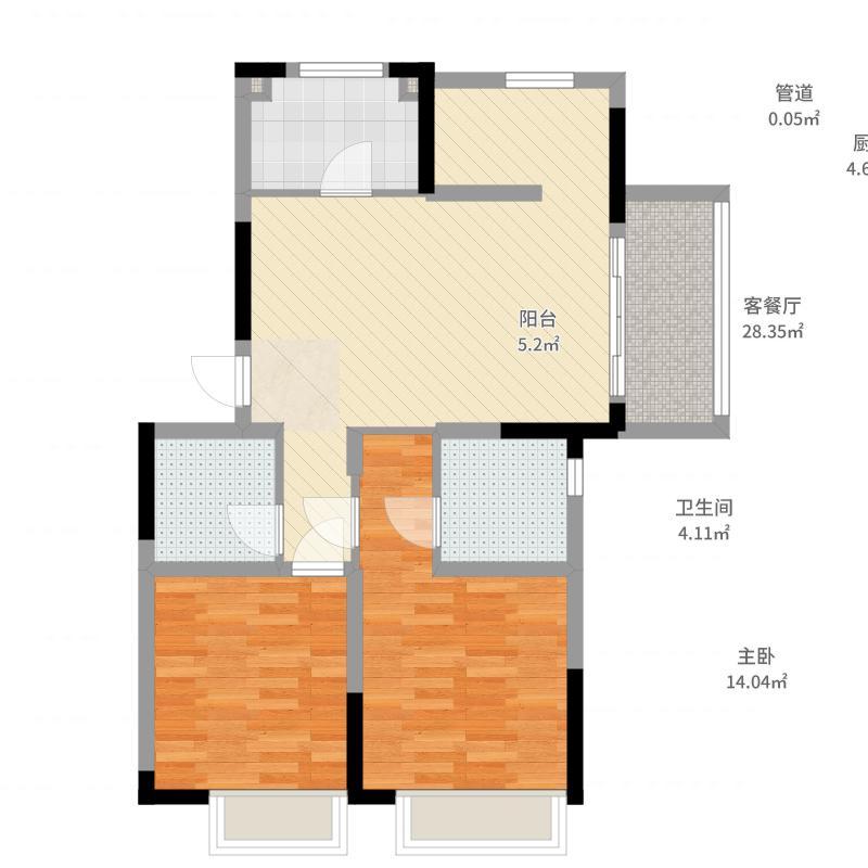 荣里89.00㎡二期22#标准层A户型3室3厅2卫1厨-副本户型图