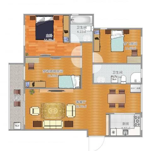 海棠花园1室2厅2卫1厨121.00㎡户型图