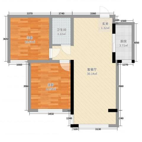 柳川佳苑2室2厅1卫1厨80.00㎡户型图