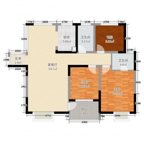山水湖滨花园二期3室2厅2卫0厨137.00㎡户型图