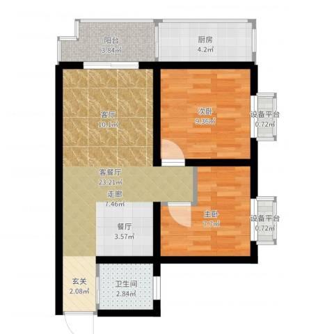 凯悦华庭2室2厅1卫1厨66.00㎡户型图