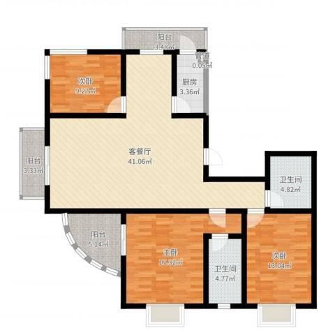 富水一方3室2厅2卫1厨132.00㎡户型图