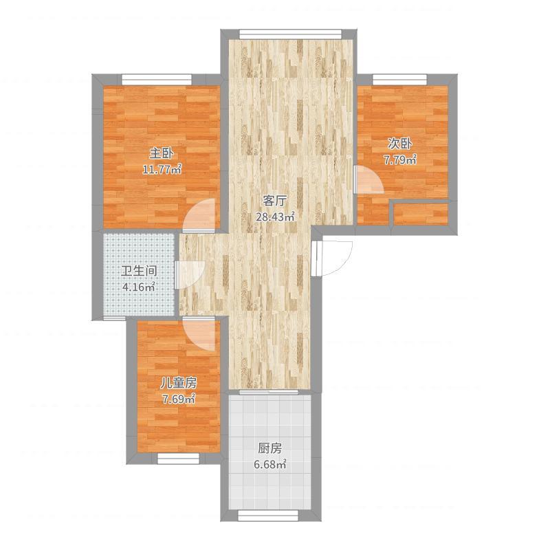 金宸联郡86平方案三三室两厅现代简约户型图