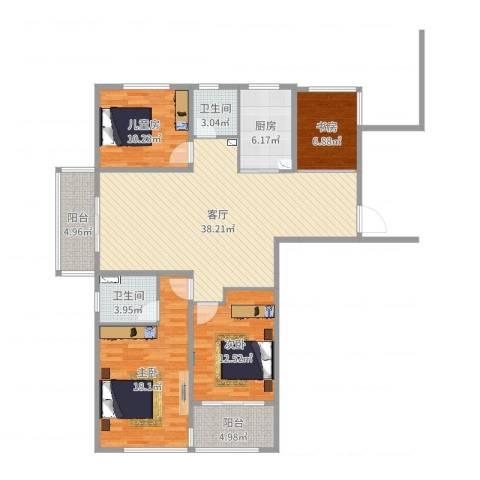 新世纪花苑4室1厅2卫1厨128.00㎡户型图