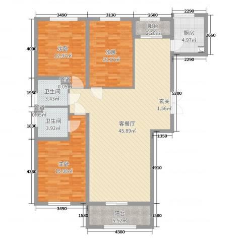 蓝爵世家3室2厅2卫1厨134.00㎡户型图