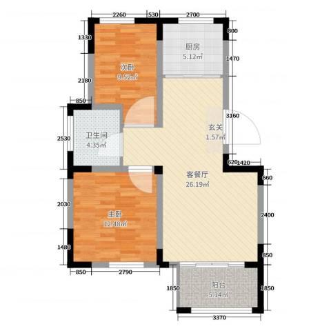 边城香榭里8号2室2厅1卫1厨79.00㎡户型图