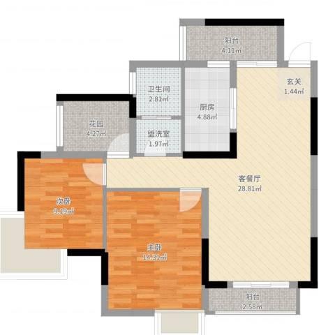 博泰・半岛水湾2室4厅1卫1厨91.00㎡户型图