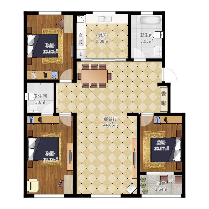 长城家园12#2户型图