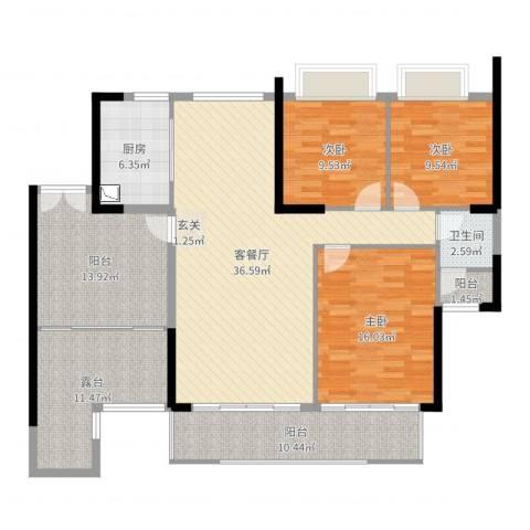 富力现代广场3室2厅1卫1厨147.00㎡户型图
