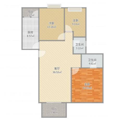 康城尚域3室1厅2卫1厨126.00㎡户型图