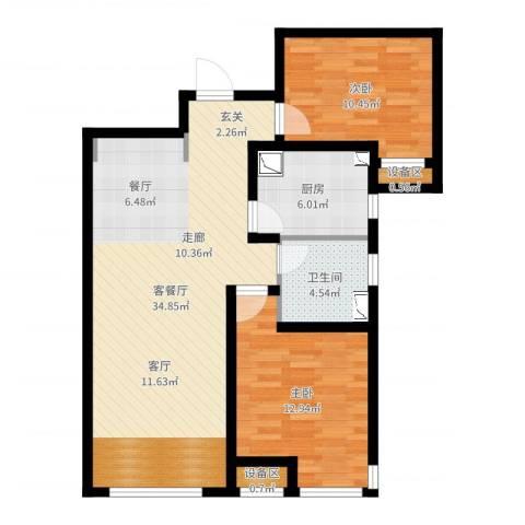 力高阳光海岸2室2厅1卫1厨88.00㎡户型图