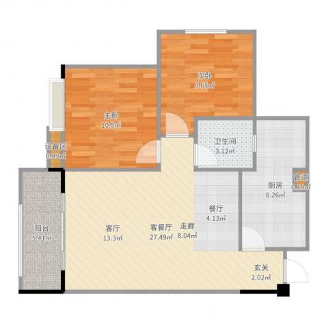 幸福雅舍2室2厅1卫1厨82.00㎡户型图