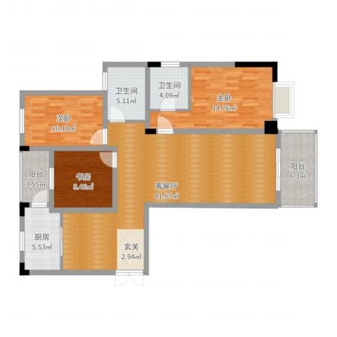 永利广场3室2厅2卫1厨125.00㎡户型图