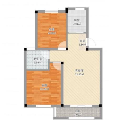 尚格・康桥别院2室2厅1卫1厨70.00㎡户型图