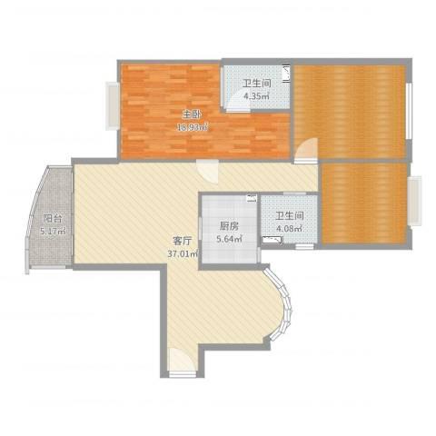河滨围城(二期)1室1厅2卫1厨126.00㎡户型图