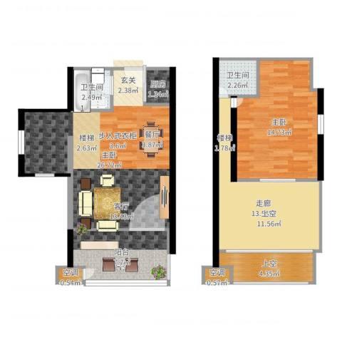 鄂州豪威城市广场2室0厅2卫1厨93.00㎡户型图