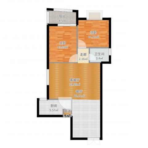 银城壹号2室1厅1卫1厨98.00㎡户型图