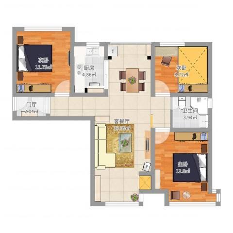 永定河孔雀城英国宫3室2厅1卫1厨97.00㎡户型图