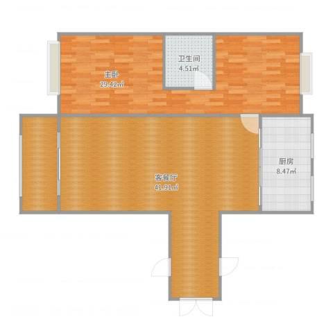 东方新家园1室2厅1卫1厨113.00㎡户型图