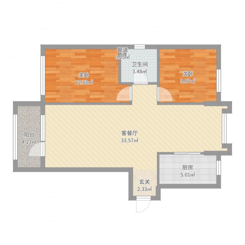 富虹太子城105.77㎡D1'户型2室2厅1卫户型图