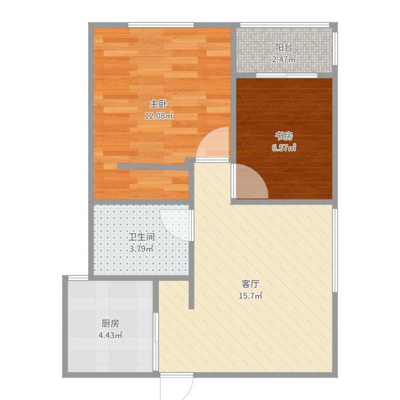 瑞星家园64平两室一厅-副本-副本户型图