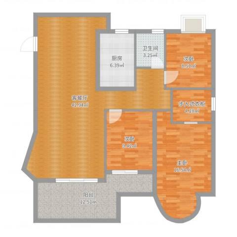 江都金域・地中海3室2厅1卫1厨130.00㎡户型图