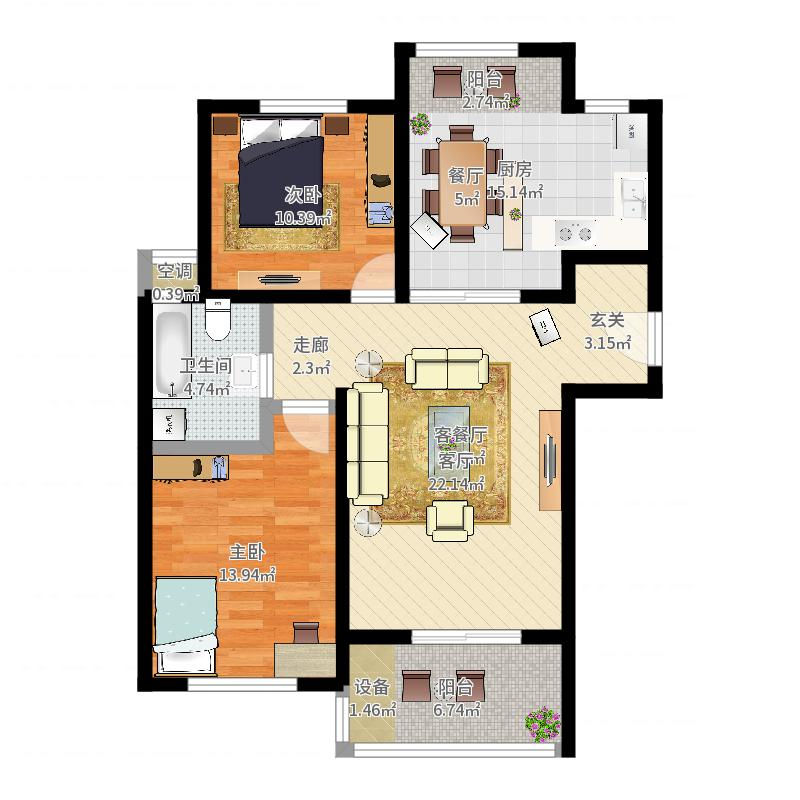 景港名人苑户型2室1厅1卫1厨-副本户型图