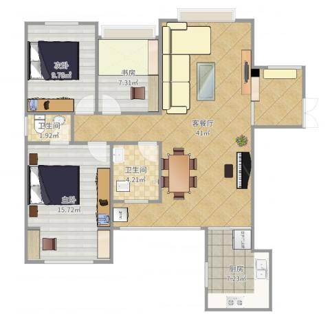 电信花园3室2厅2卫1厨109.00㎡户型图