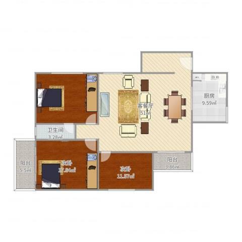 古楼广场2室2厅1卫1厨151.00㎡户型图