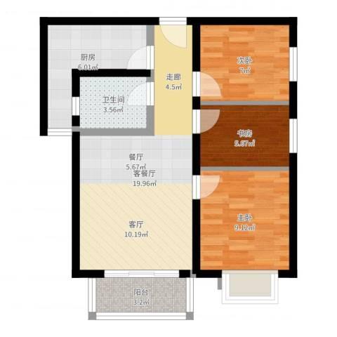上上城青年社区二期3室2厅1卫1厨68.00㎡户型图