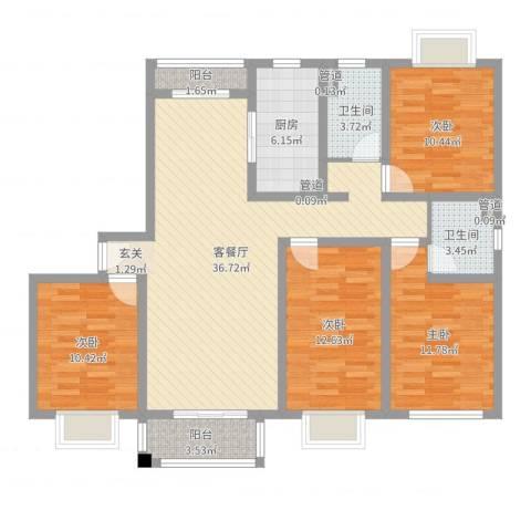 平江盛世家园4室2厅2卫1厨126.00㎡户型图