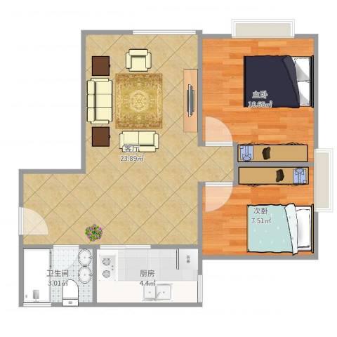 润汇大厦2室1厅1卫1厨62.00㎡户型图