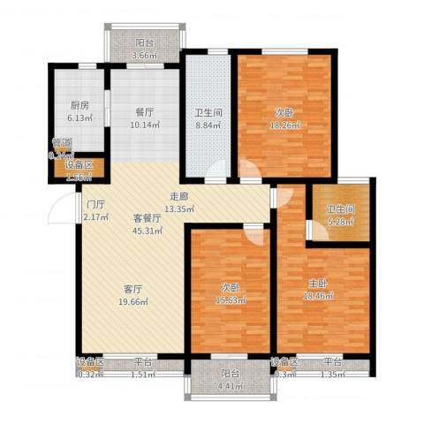 天骄华府3室2厅2卫1厨164.00㎡户型图