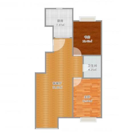 博雅花园2室2厅1卫1厨83.00㎡户型图